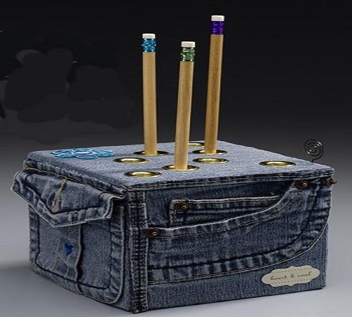 kotak pensil jeans bekas