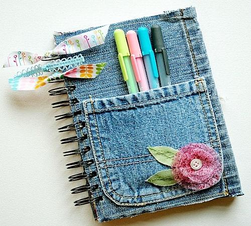 cover atau sampul buku jeans bekas