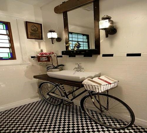 furnitur kamar mandi daur ulang sepeda