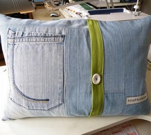 sarung bantal jeans bekas