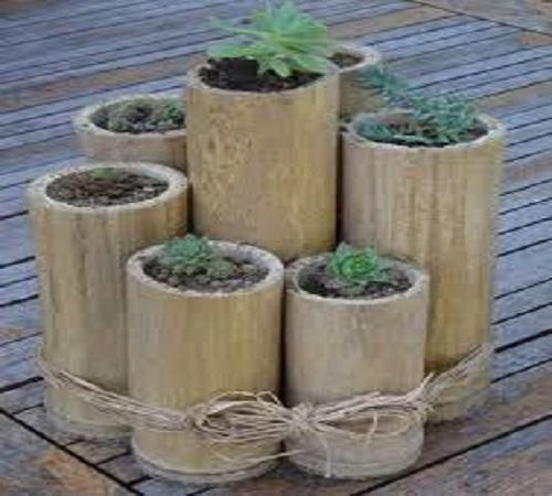 pot bunga dari bambu bekas