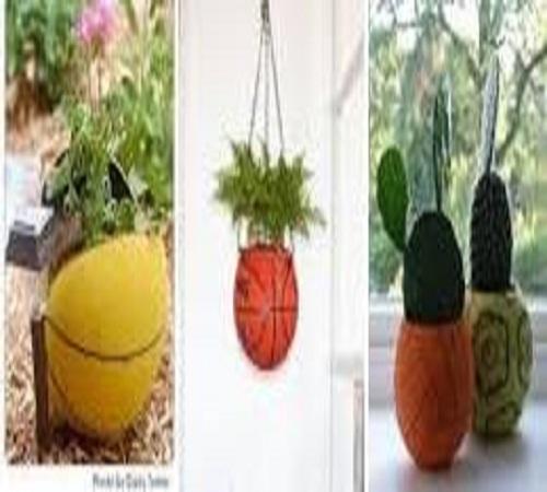 pot bunga dari bola tenis