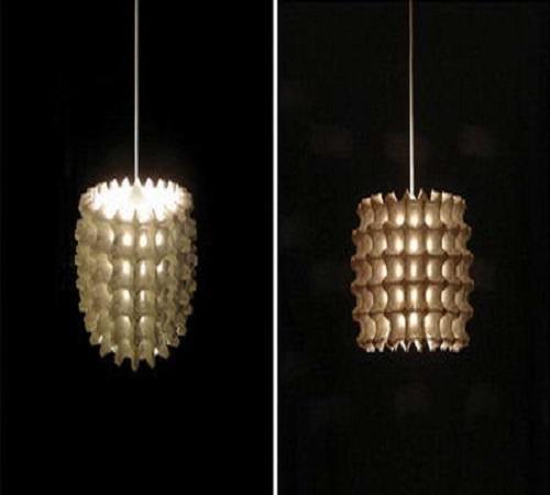 kap lampu hias dari karton wadah telur