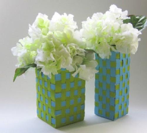 pot bunga dari kardus dan kain pita