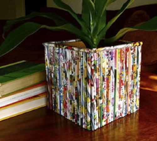 pot bunga dari kardus dan koran bekas