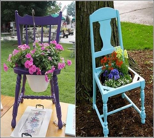 pot bunga dari kursi bekas