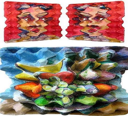 lukisan dari karton wadah telur