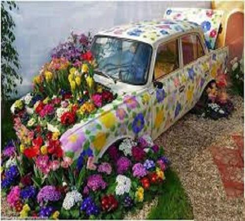 pot bunga dari mobil bekas