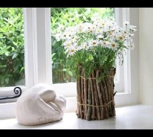 pot bunga dari ranting pohon
