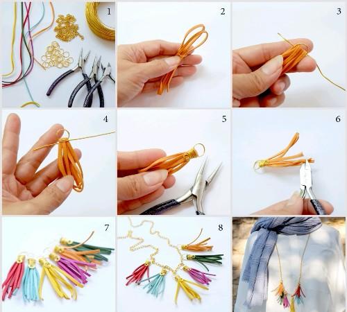 Kreasi Simple Kalung Pelangi dari Tali Suede