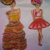 gaun dari serutan pensil