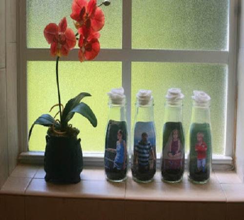 Frame atau Pigura Foto Unik dari Botol Kaca Bekas