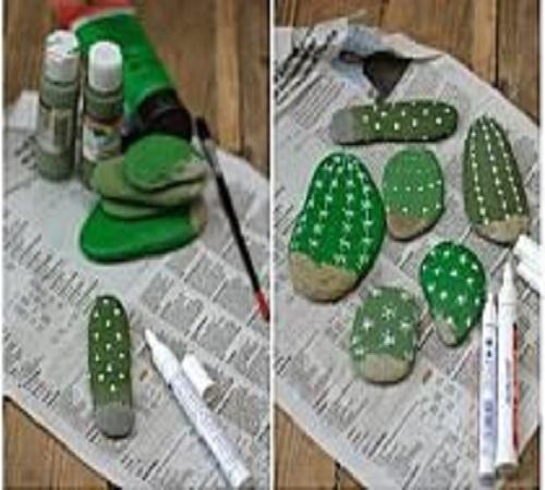 Seni Melukis Batu menjadi Hiasan Kaktus 1